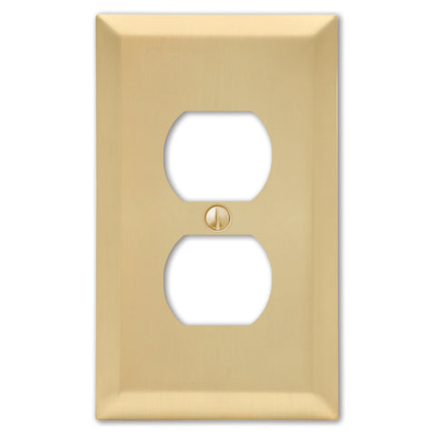 Century Satin Brass Steel - 1 Duplex Outlet Wallplate | 163DSB