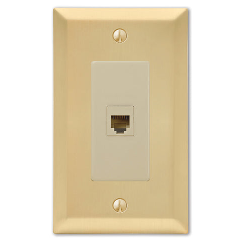 Century Satin Brass Steel - 1 Phone Jack Wallplate | 163PHSB