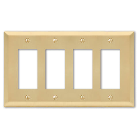 Century Satin Brass Steel - 4 Rocker Wallplate | 163R4SB