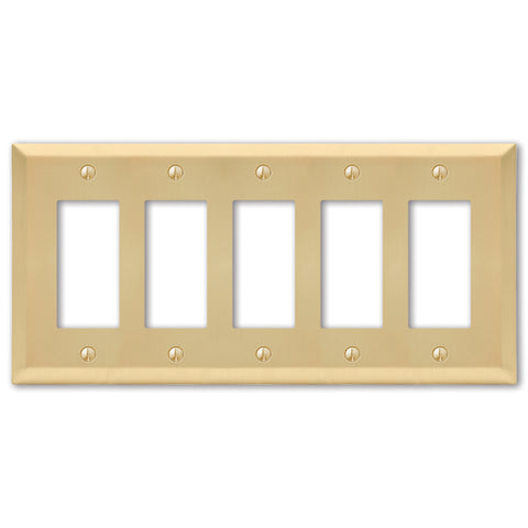 Century Satin Brass Steel - 5 Rocker Wallplate | 163R5SB