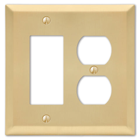 Century Satin Brass Steel - 1 Rocker / 1 Duplex Outlet Wallplate | 163RDSB