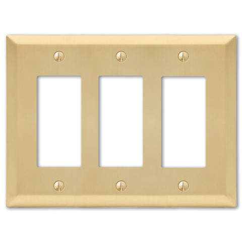 Century Satin Brass Steel - 3 Rocker Wallplate | 163RRRSB