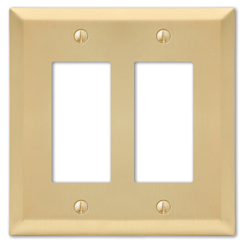 Century Satin Brass Steel - 2 Rocker Wallplate | 163RRSB
