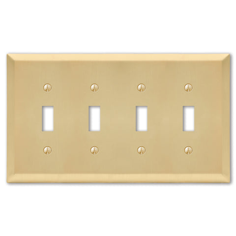 Century Satin Brass Steel - 4 Toggle Wallplate | 163T4SB