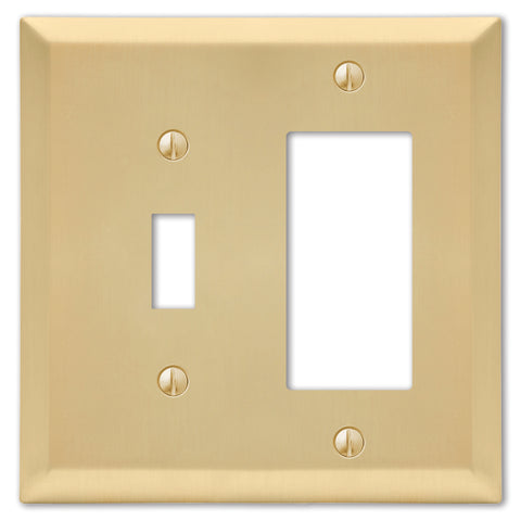 Century Satin Brass Steel - 1 Toggle / 1 Rocker Wallplate | 163TRSB