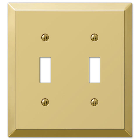Century Polished Brass Steel - 2 Toggle Wallplate | 163TTBR
