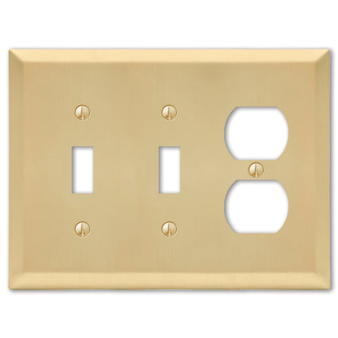 Century Satin Brass Steel - 2 Toggle / 1 Duplex Outlet Wallplate | 163TTDSB