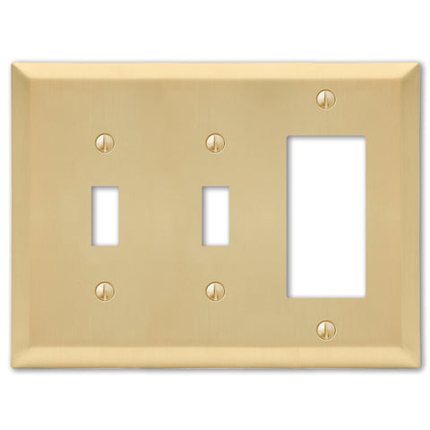 Century Satin Brass Steel - 2 Toggle / 1 Rocker Wallplate | 163TTRSB