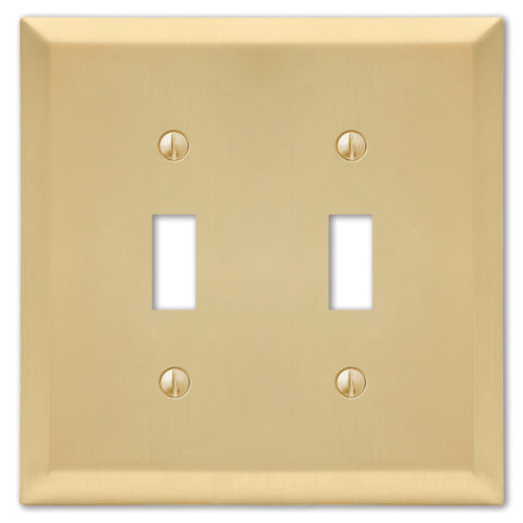 Century Satin Brass Steel - 2 Toggle Wallplate | 163TTSB