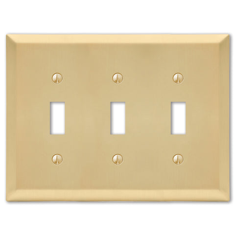 Century Satin Brass Steel - 3 Toggle Wallplate | 163TTTSB