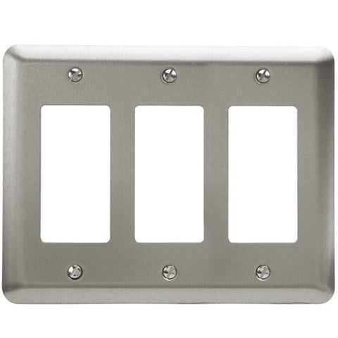 Devon Brushed Nickel Steel - 3 Rocker Wallplate | 2RRRPW