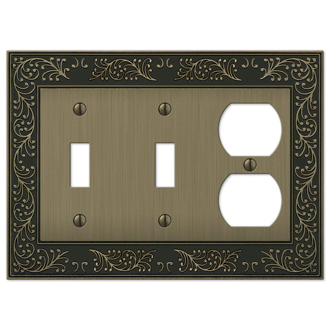 English Garden Brushed Brass Cast - 2 Toggle / 1 Duplex Outlet Wallplate