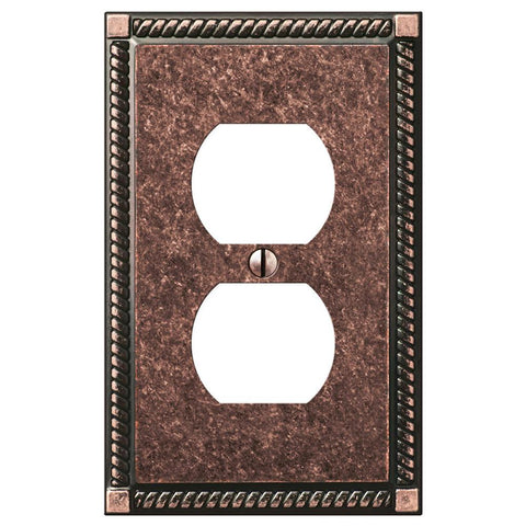 Georgian Tumbled Aged Bronze Cast - 1 Duplex Outlet Wallplate | 54DAZ