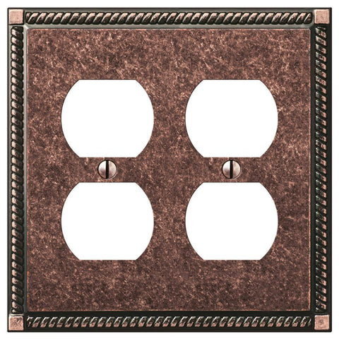 Georgian Tumbled Aged Bronze Cast - 2 Duplex Outlet Wallplate | 54DDAZ