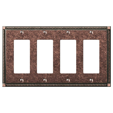 Georgian Tumbled Aged Bronze Cast - 4 Rocker Wallplate | 54R4AZ