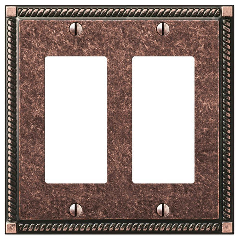 Georgian Tumbled Aged Bronze Cast - 2 Rocker Wallplate | 54RRAZ
