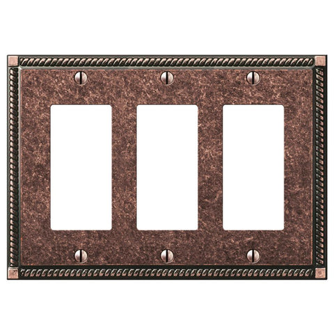 Georgian Tumbled Aged Bronze Cast - 3 Rocker Wallplate | 54RRRAZ
