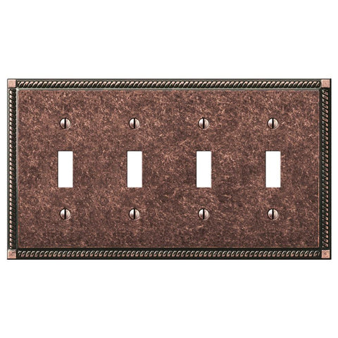 Georgian Tumbled Aged Bronze Cast - 4 Toggle Wallplate | 54T4AZ