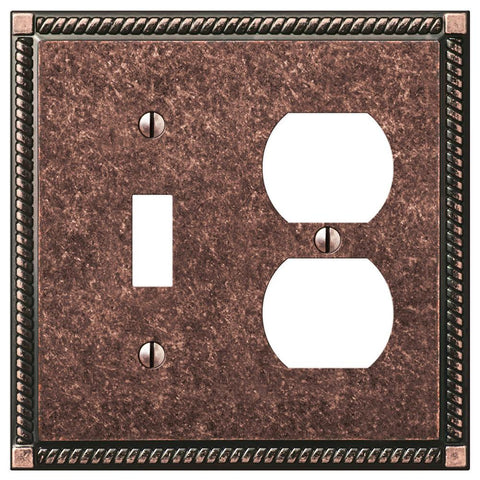 Georgian Tumbled Aged Bronze Cast - 1 Toggle / 1 Duplex Outlet Wallplate | 54TDAZ