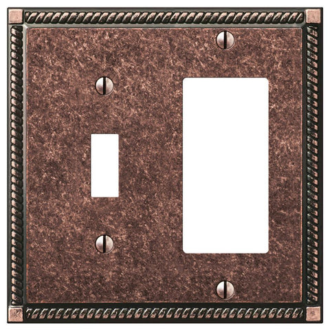 Georgian Tumbled Aged Bronze Cast - 1 Toggle / 1 Rocker Wallplate | 54TRAZ
