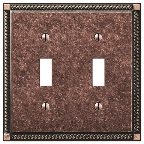 Georgian Tumbled Aged Bronze Cast - 2 Toggle Wallplate | 54TTAZ