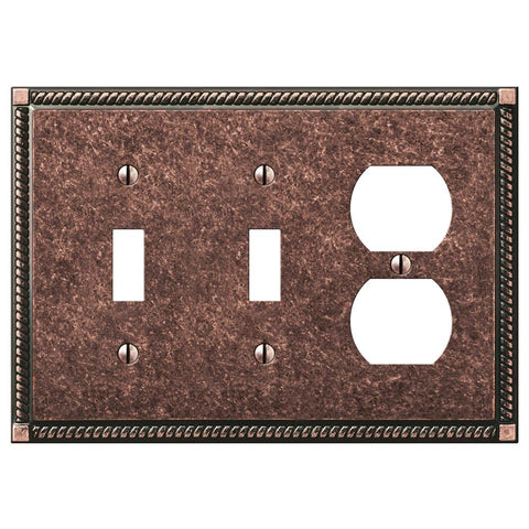 Georgian Tumbled Aged Bronze Cast - 2 Toggle / 1 Duplex Outlet Wallplate | 54TTDAZ