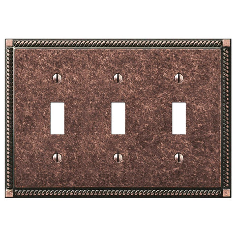 Georgian Tumbled Aged Bronze Cast - 3 Toggle Wallplate | 54TTTAZ