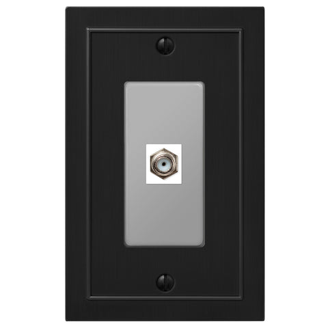 Bethany Cast Metal Matte Black - 1 Cable Jack Wallplate | 57CXBK