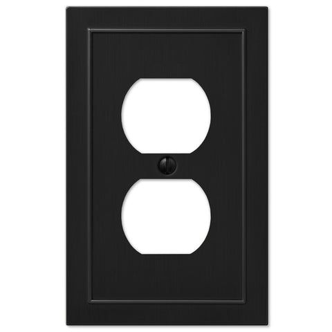 Bethany Cast Metal Matte Black - 1 Duplex Outlet Wallplate | 57DBK