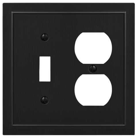 Bethany Cast Metal Matte Black - 1 Toggle / 1 Duplex Outlet Wallplate | 57TDBK