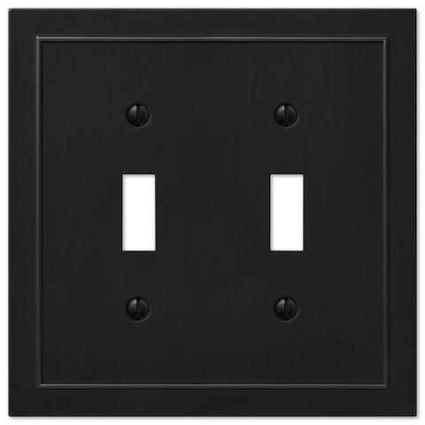 Bethany Cast Metal Matte Black - 2 Toggle Wallplate | 57TTDBK