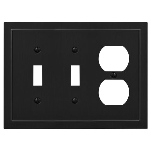 Bethany Cast Metal Matte Black - 2 Toggle / 1 Duplex Outlet Wallplate | 57TTDBK