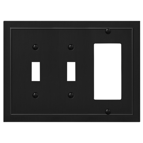 Bethany Cast Metal Matte Black - 2 Toggle / 1 Rocker Wallplate | 57TTRDBK