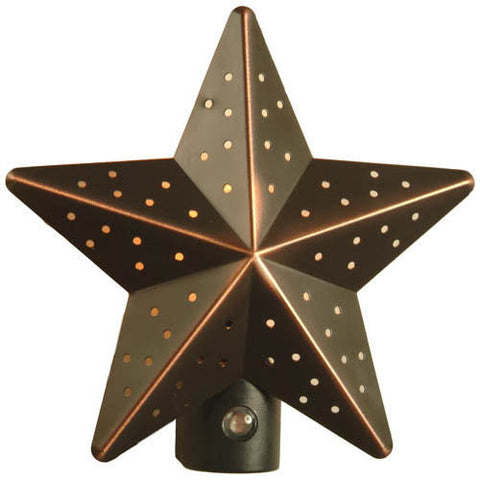 Tin Star Automatic Night Light, Aged Bronze