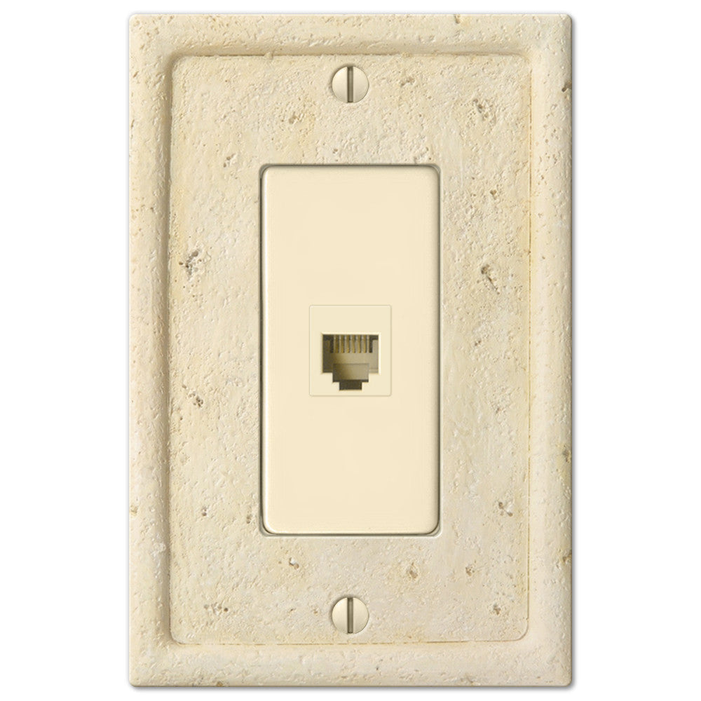 Faux Stone Ivory Resin - 1 Phone Jack Wallplate | 8351PHIV – AmerTac
