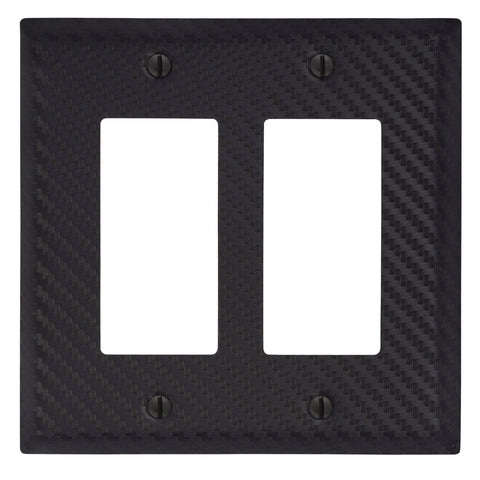 Carbon Fiber Black Steel - 2 Rocker Wallplate | 944RRBK