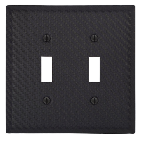 Carbon Fiber Black Steel - 2 Toggle Wallplate | 944TTBK