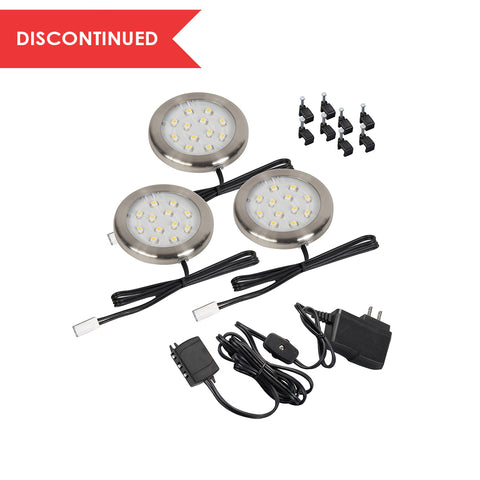 led ultra thin puck light starter kit 3pk cabinet lighting puck light