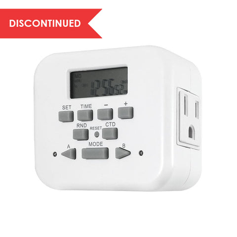 Dual Digital Timer with Two Independent Outlets, Grounded | TE23WHB