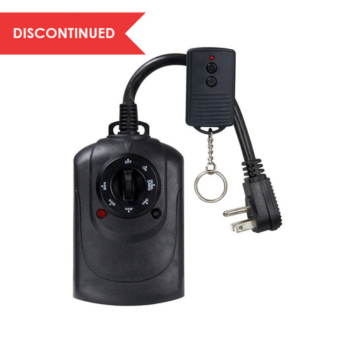 Outdoor Photocell Timer with Wireless Remote,  2-Outlet Grounded Black | TM21DOLB