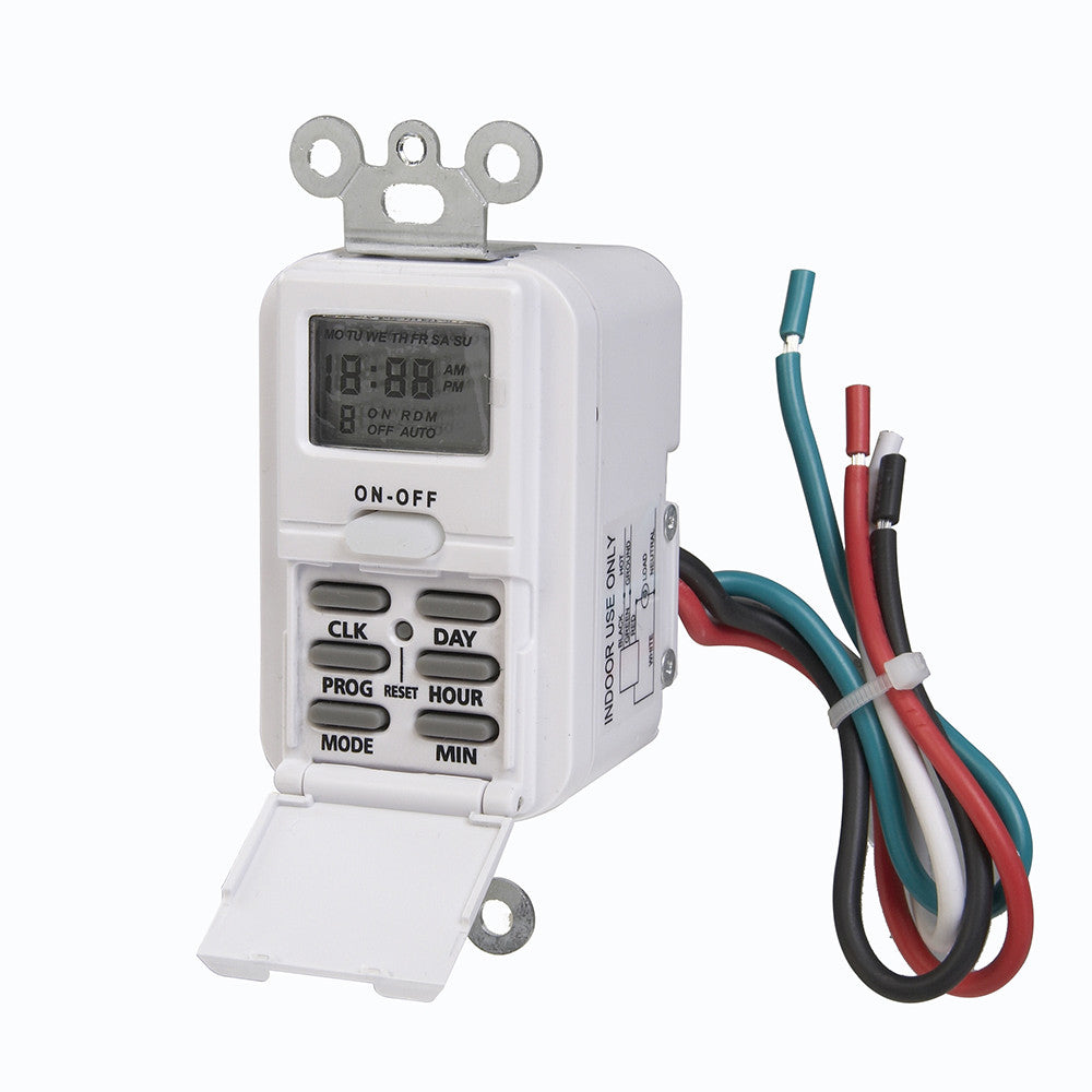 Indoor Wire-In Weekly Digital Wall Switch Timer, 120V – AmerTac