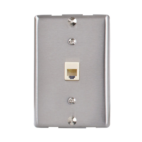 Universal Wall Phone Jack, Silver | TW1001WPS