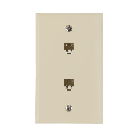 Flush Mount Dual Telephone Wallplate, Almond | TW1002DA