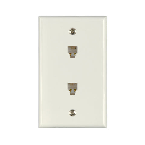 Flush Mount Dual Telephone Wallplate, White | TW1002DW