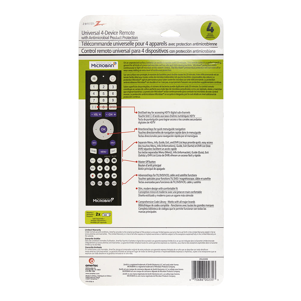 4-Device Universal Remote w/ Microban® Technology | ZR400MB