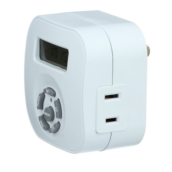 Indoor Weekly Digital Round Timer 1 Outlet Polarized Te1604 Amertac