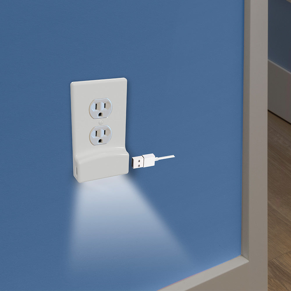 LumiCover Core Classic USB Nightlight Wallplate, White | LCR-UCDO-W