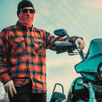 Load image into Gallery viewer, Red Paisley Motorcycle Face Mask