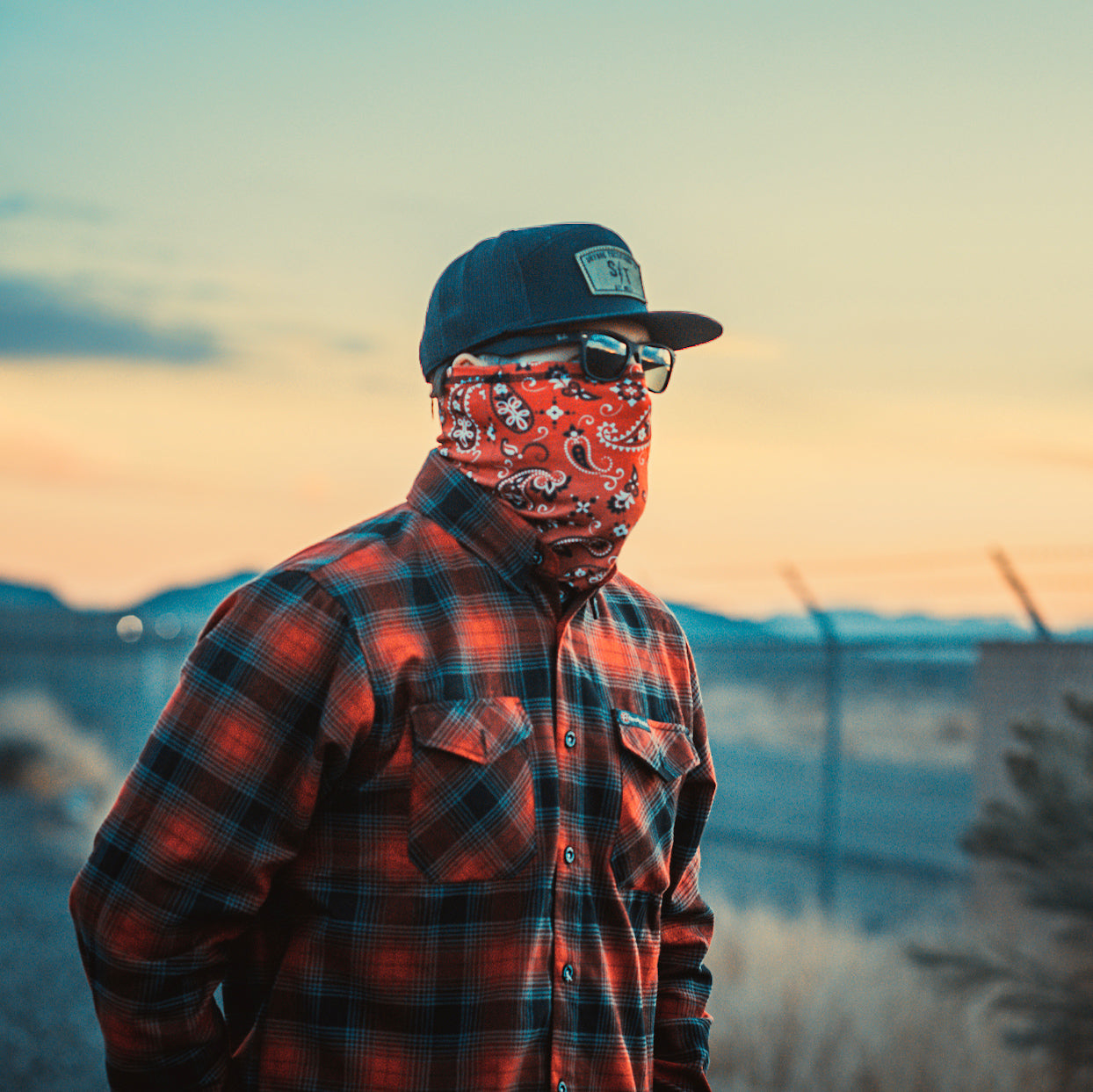 Red Paisley Motorcycle Face Mask