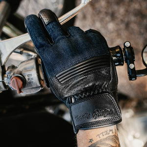 Denim & Leather Motorcycle Gloves • Black